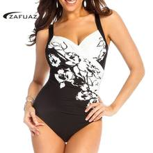 ee9b99948a 2019 Women Sexy Retro Black Floral Print Push Up One Piece Swimwear Ruched Swimsuit  Female Bathing