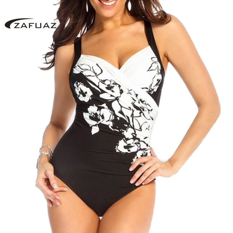 Home 2019 Sexy One Piece Swimsuit Women Push Up Plus Size Swimwear Floral Print Large Bathing Swim Suit Vintage Female Monokini 4xl