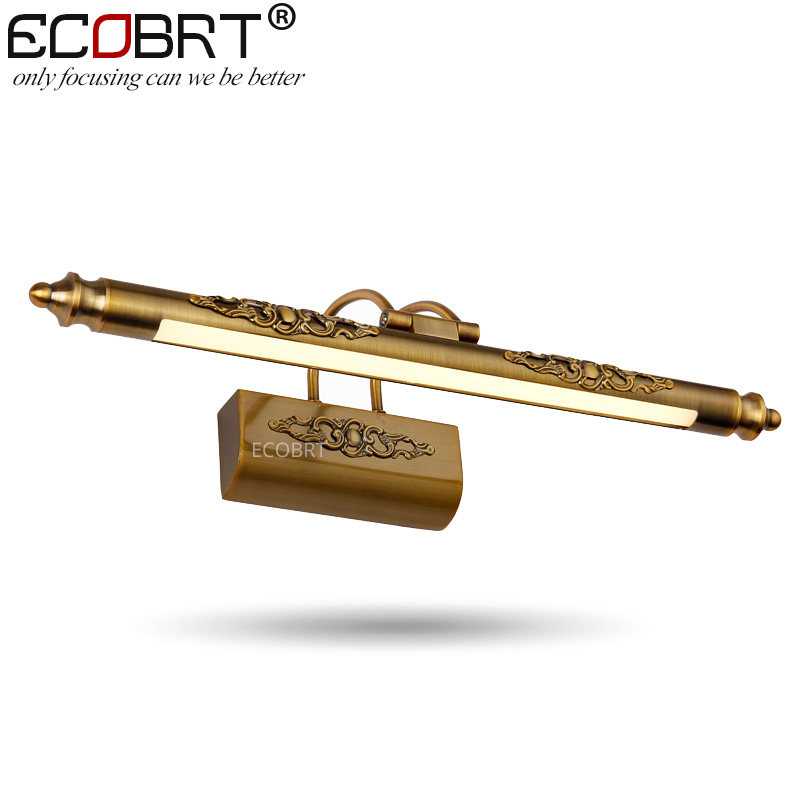 ECOBRT Modern Brass LED Wall lights Lamps in Bathroom with Swing Arm 50CM 70CM 90CM Long top Mirrors Sconces 110V / 220V AC