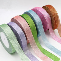 2pcs 25Yards Roll 4cm Width Golden Silver Glitter Ribbon DIY Invitation Card Gift Wrapping Wedding Party