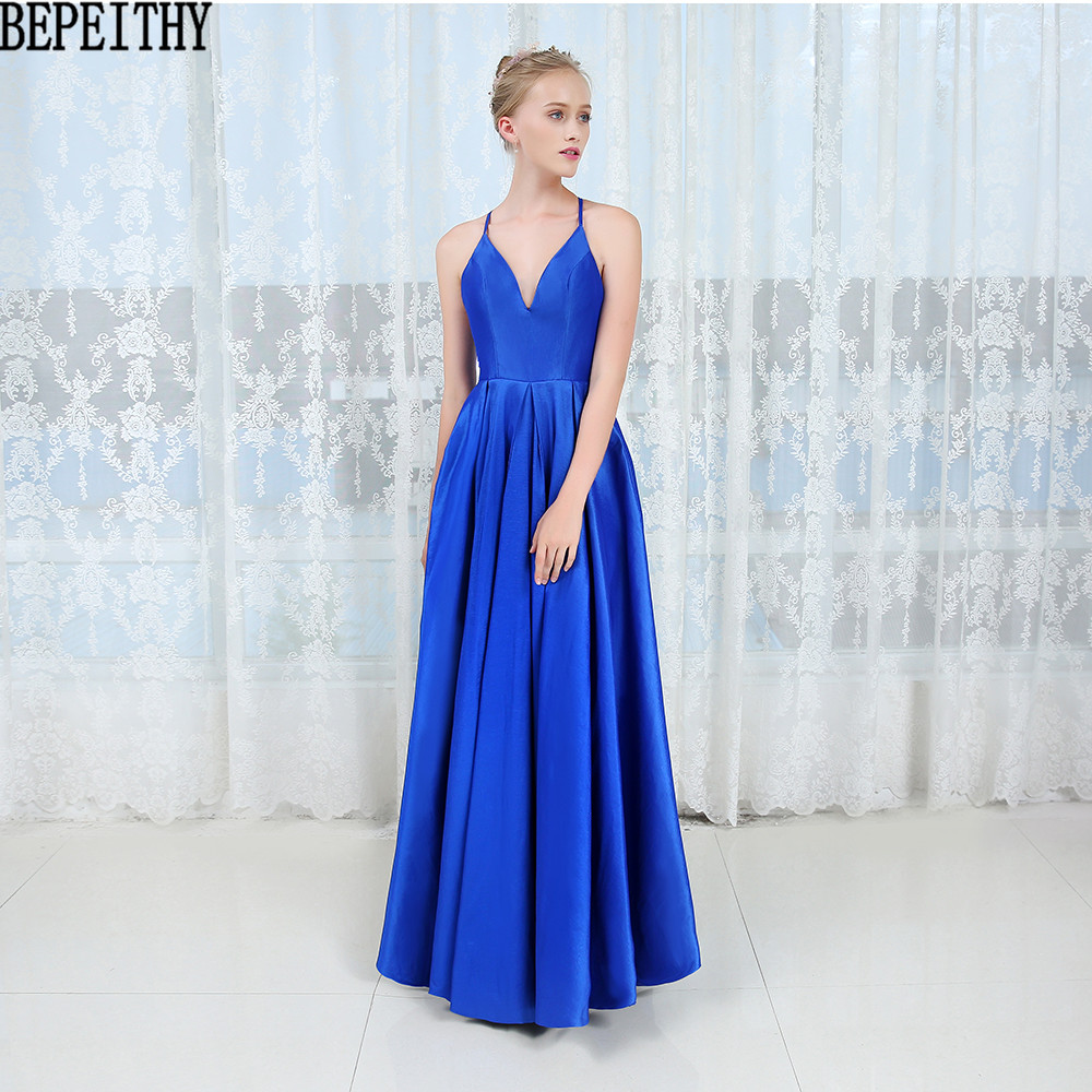 BEPEITHY vestido de festa NeW Sexy Deep V Neck Prom Dresses 2019 Simple Blue Dress Long Evening Gown Evening Dresses