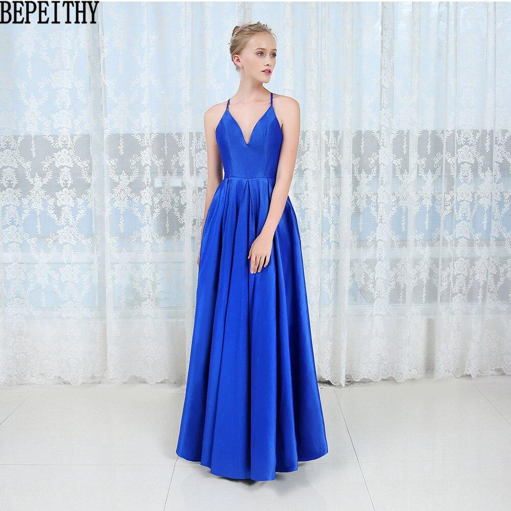 BEPEITHY vestido de festa NeW Sexy Deep V Neck   Prom     Dresses   2019 Simple Blue   Dress   Long Evening Gown Evening   Dresses