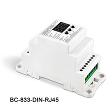 BC-833-DIN-RJ45 DIN Rail DC12-24V input 8A*3CH output,3CH Constant voltage DMX512/1990 Decoder controller for led strip,lamp bc rj45 connect led rgb rgbw 624 din bc 632 din bc 640 din 24 32 40 ch dmx512 8bit 16bit dc12v 24v strip lamp decoder