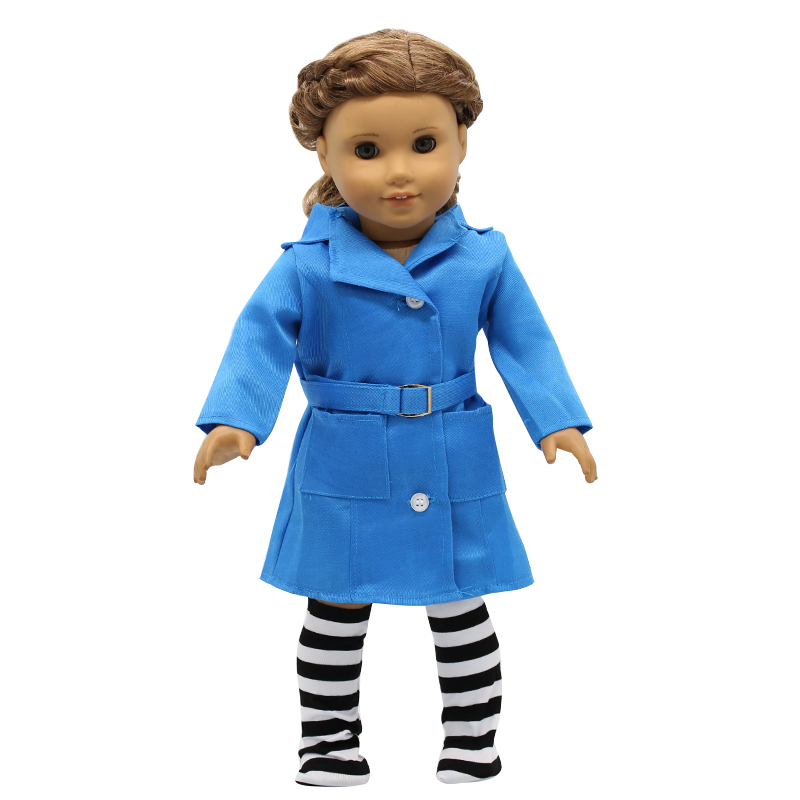 American Girl Dolls Clothes Deep Purple Coat + Socks Belt Sets Cosplay for 18 inch Doll Accessories Girl Gift X-45 drop shipping american girl doll clothes for 18 inch dolls beautiful toy dresses outfit set fashion dolls clothes doll accessories