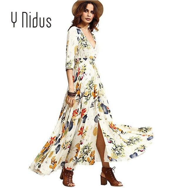 f6535e5d06275 US $14.52 40% OFF|Y Nidus Women's Summer Dresses 2018 Maxi Sundress Button  Up Split Floral Print Flowy Long Evening Party Dresses vestidos-in Dresses  ...