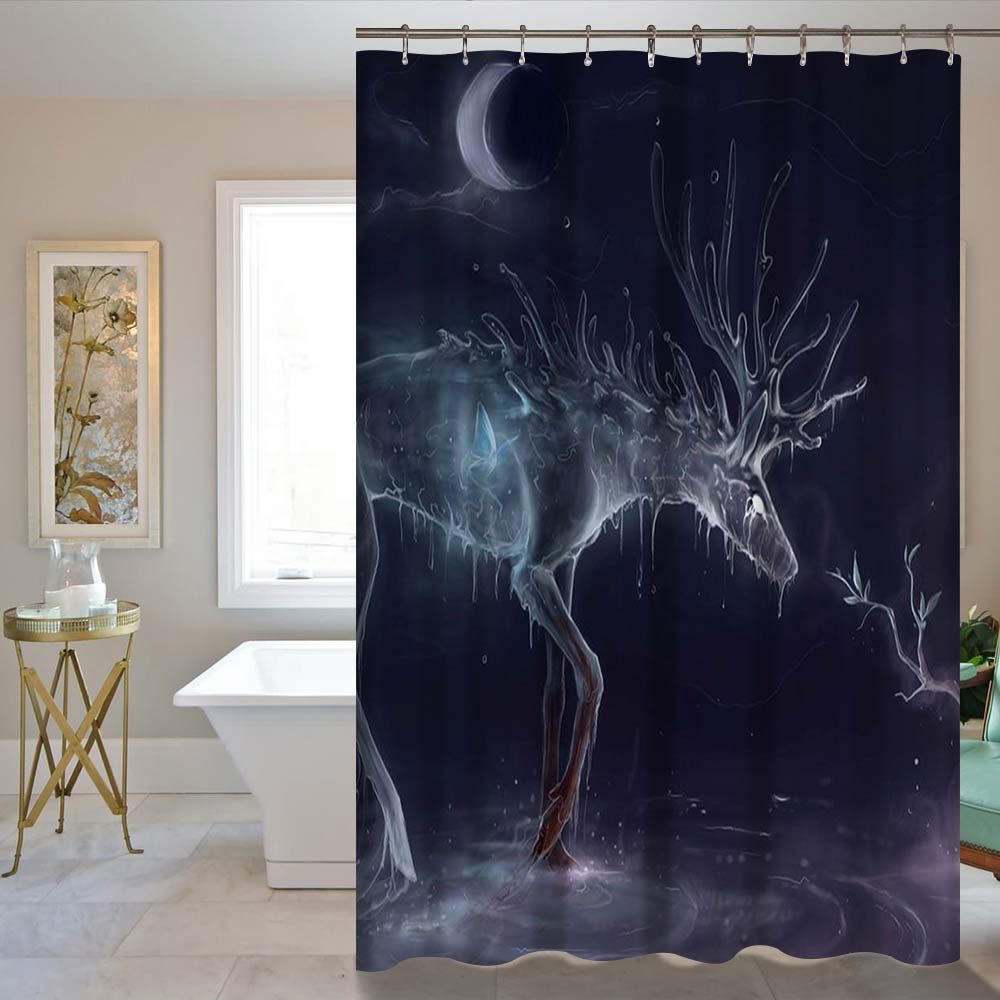 Moon Meteor shower And Deer Waterproof Home Decor Shower Curtain Bathroom Mat 60X72inch/72X72inch Curtain Supplier Wholesale