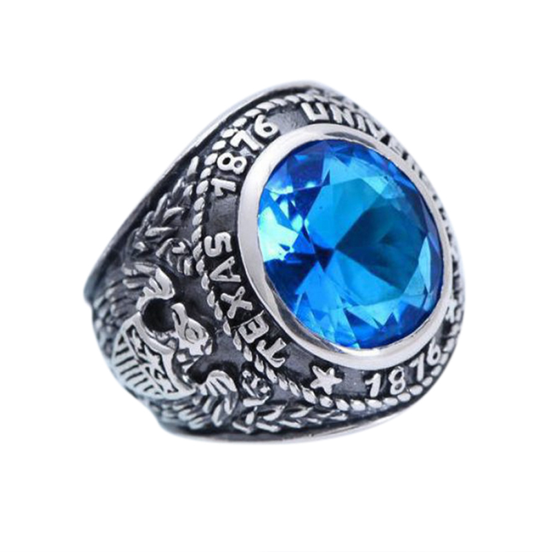 Real 925 Sterling Silver Vintage Rings Anniversary Inlaid Blue Crystal Silver Carving Anchor And Eagle Wings