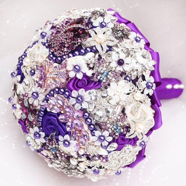 DIY brooch bouquet  Silk Bride Bridal Wedding Bouquet Bridesmaid purple & ivory Cloth roses Customizable diamond bouquets