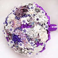 DIY brooch bouquet Silk Bride Bridal Wedding Bouquet Bridesmaid purple & ivory Cloth roses Customizable diamond bouquets