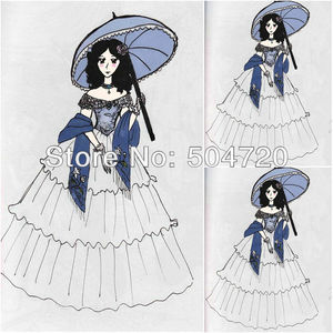 Freeshipping!1860s White Cotton Civil War Southern Belle Gown Victorian Lolita dresses Gothic dress US6-26 V-259