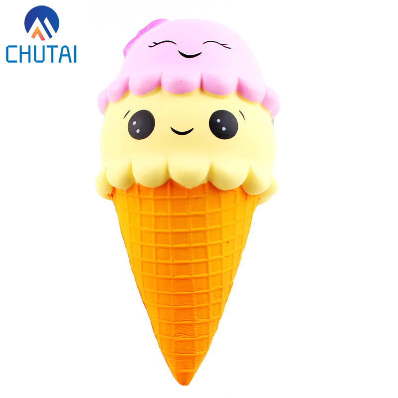 Super Big Jumbo Squishy Slow Rising Ice Cream Squeeze Toys Funny Scented Soft Double Smiley Squishies Party Xmas Gift 22*10CM