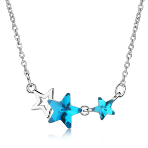 LUKENI Vintage Crystal Star Blue Pendant Necklace For Women Accessories Trendy Silver 925 Girls Clavicle Necklace Jewelry Female
