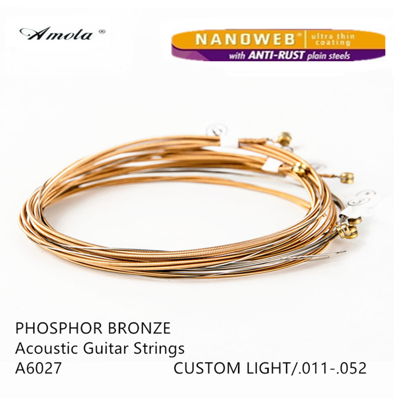 Amola Guitar String  A6027 011-052 Wood Acoustic Guitar Strings Nanoweb Custom Light Phosphor Bronze Musical Instrument   1 Sets oasis pd 60w