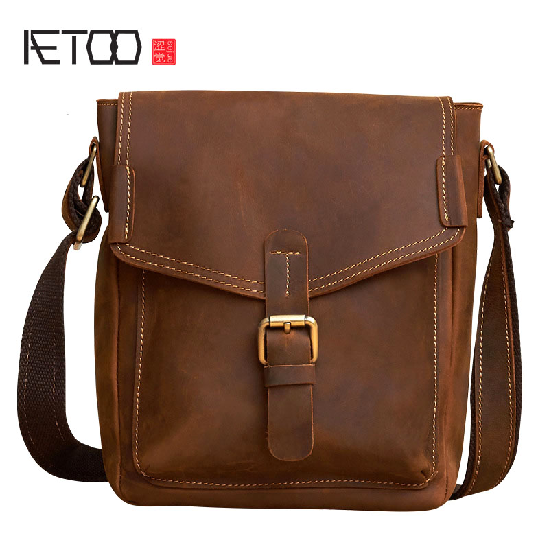 AETOO New leather men bag retro handmade men bag Korean casual first layer of leather Messenger bag shoulder bag new korean version of the first layer of leather pillow bag large lychee pattern handbag shoulder messenger fashion leather leat