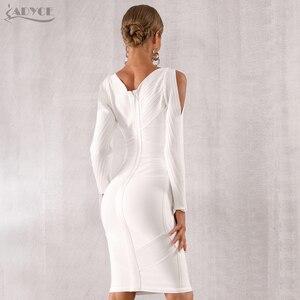 Image 5 - Adyce 2020 novo outono branco bodycon bandage vestido feminino manga longa oco para fora do clube vestidos celebridade noite vestido de festa