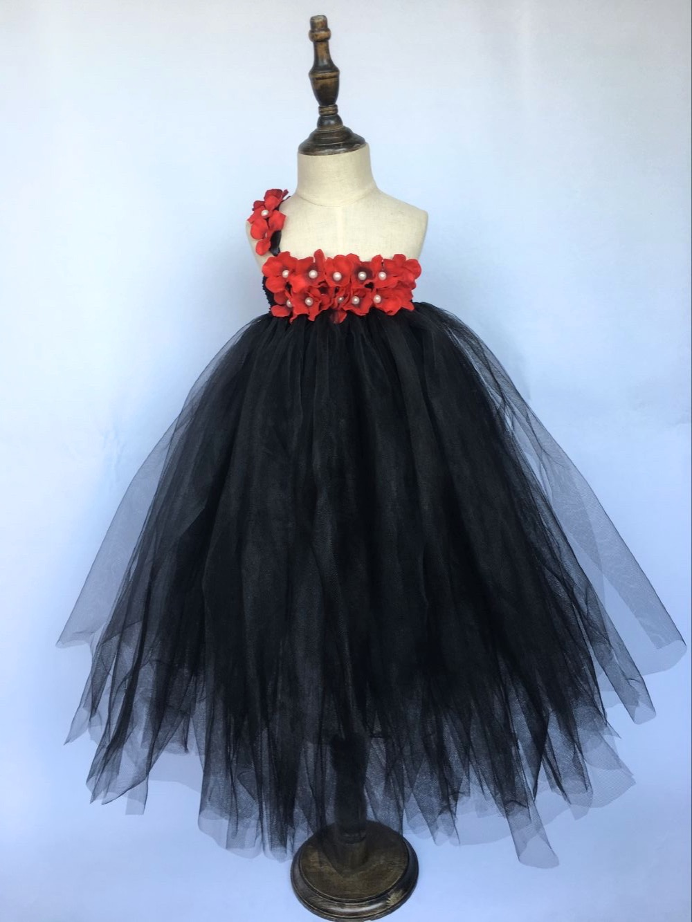 Girls Black Tutu Dress Kids Fluffy Crochet Tulle Tutus
