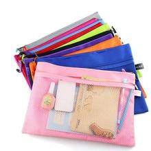 1 шт. A4 цветная двухслойная холщовая бумажная папка с застежкой-молнией, чехол-карандаш для книг, сумка для ручек, сумки для документов