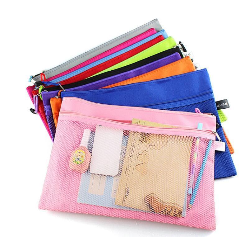 1pc A4 Colorful Double Layer Canvas Paper File Folder With Zipper Book Pencil Case Pen Bag File Document Bags