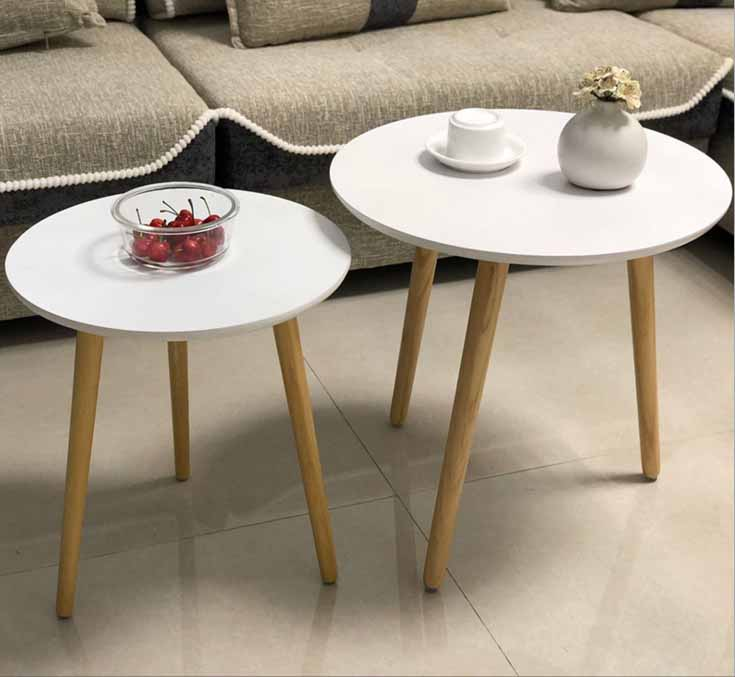 Simple creative modern solid wood mini coffee table living room coffee table tea table round /triangle home furniture coffee table simple modern creative small coffee table round folding tea table small size living room wood tea table