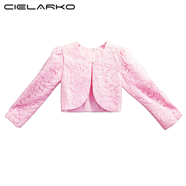 7d64e1af2dd0 Cielarko Lace Girls Bolero Kids Party Coat Pink Wraps Shrug Princess ...