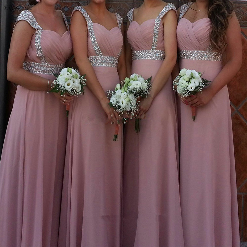 Dusty Rose Pink   Bridesmaid     Dresses   Chiffon A Line Pleated Crystals Elegant Maid of Honor   Dress   Wedding Party vestidos compridos