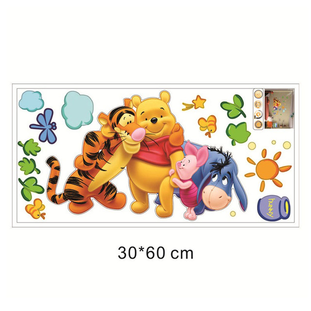 Winnie the Pooh friends wall stickers for kids rooms decorative sticker adesivo de parede removable pvc wall decal