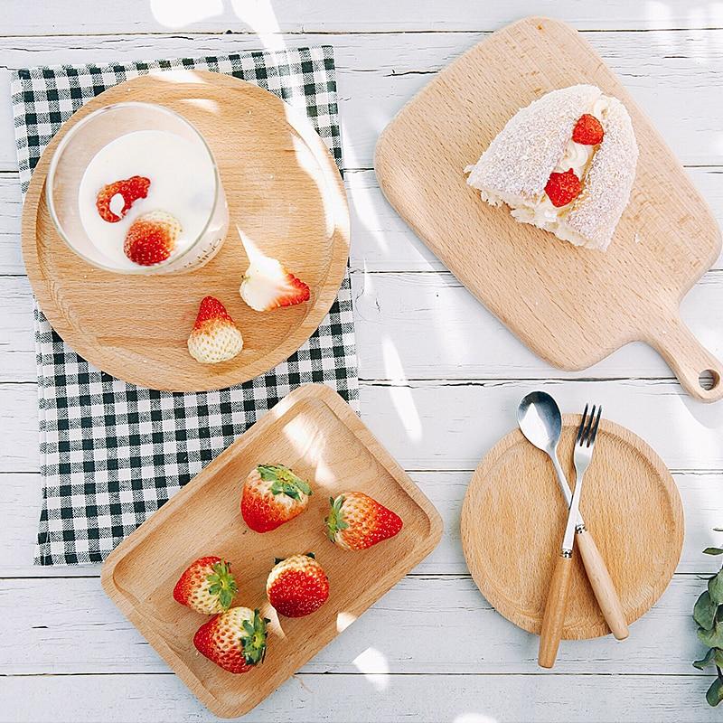 Beech Plate Round Square Dish for Baking Dessert Fruit
