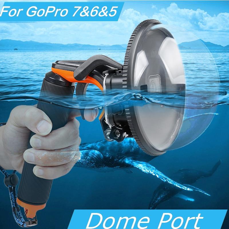 Plongée Dôme Port boîtier étanche de Couverture de Cas Pour GoPro Hero 5/6/7 Caméra Trigger