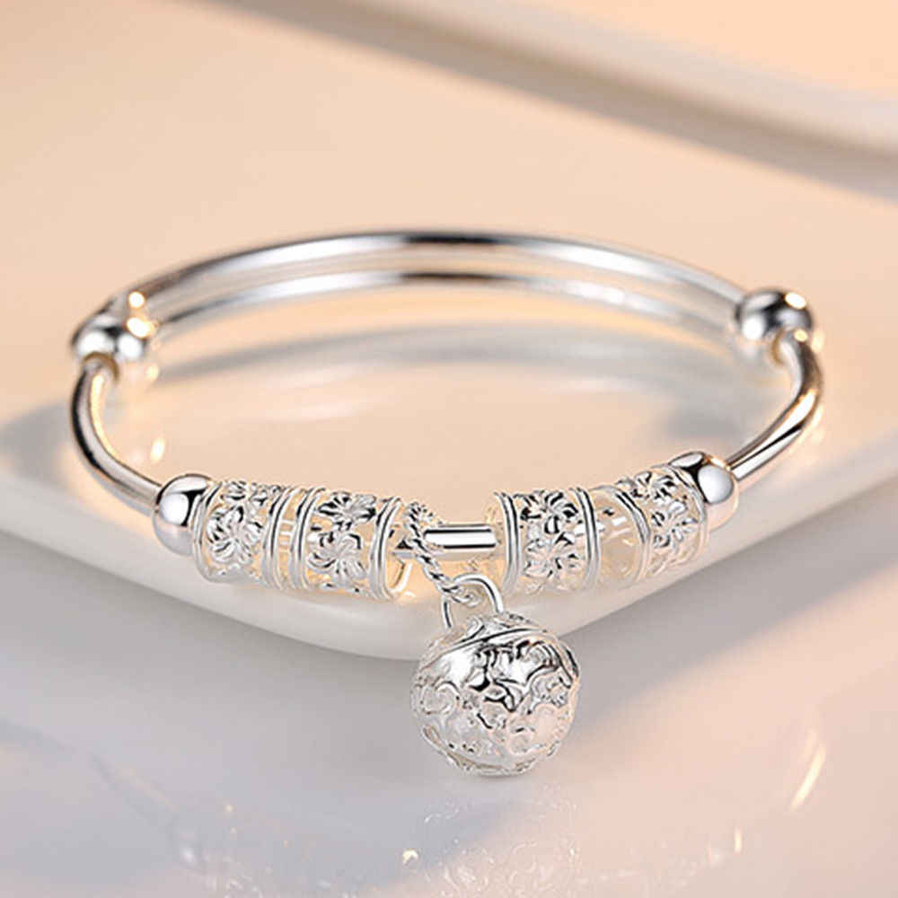 Fashion Sliver 925 Sterling Silver Charm Artificial Stone Bangle Cuff Bracelet Ball  Bell Pendants Women Jewelry Gift