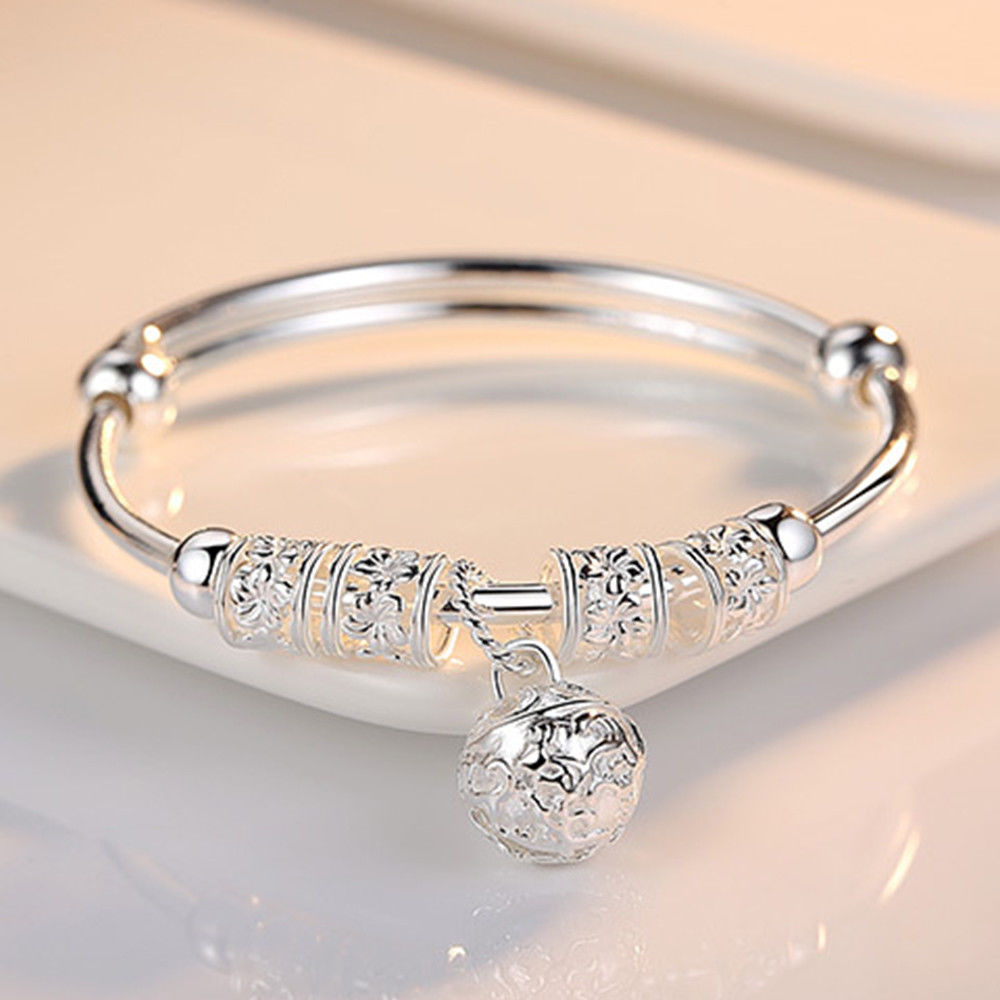 Fashion Silver Charm Artificial Stone Bangle Cuff Bracelet Ball Bell Pendants Women Jewelry Gift(China)