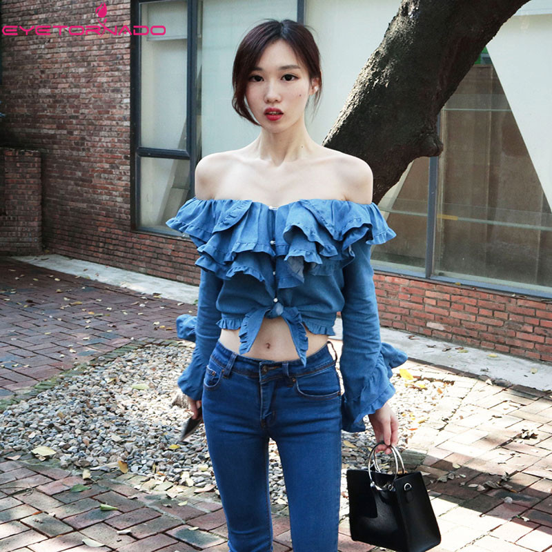 Women slash neck sexy club party crop top summer cascading ruffled denim shirts flare sleeve lace up blouse shirt blusa blue women s casual solid slash neck half sleeve lace crop top