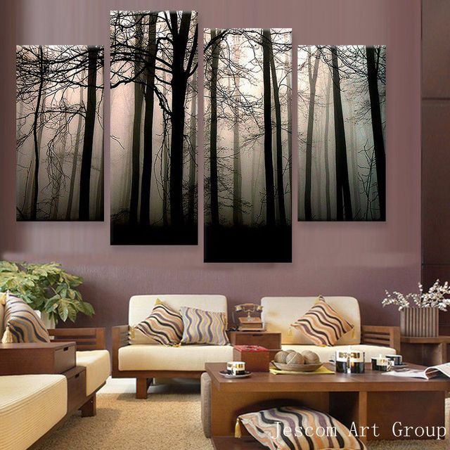 4 Piece Scenery Black Forest Modern Creative Paintings Wall Art Picture Home Room Decor Print Painting