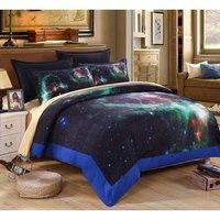 3d galaxy del lecho del rey/de la reina/tamaño completo juegos de cama 4 unids edredón/ropa de cama/fundas de almohada espacio iluminado juego de cama