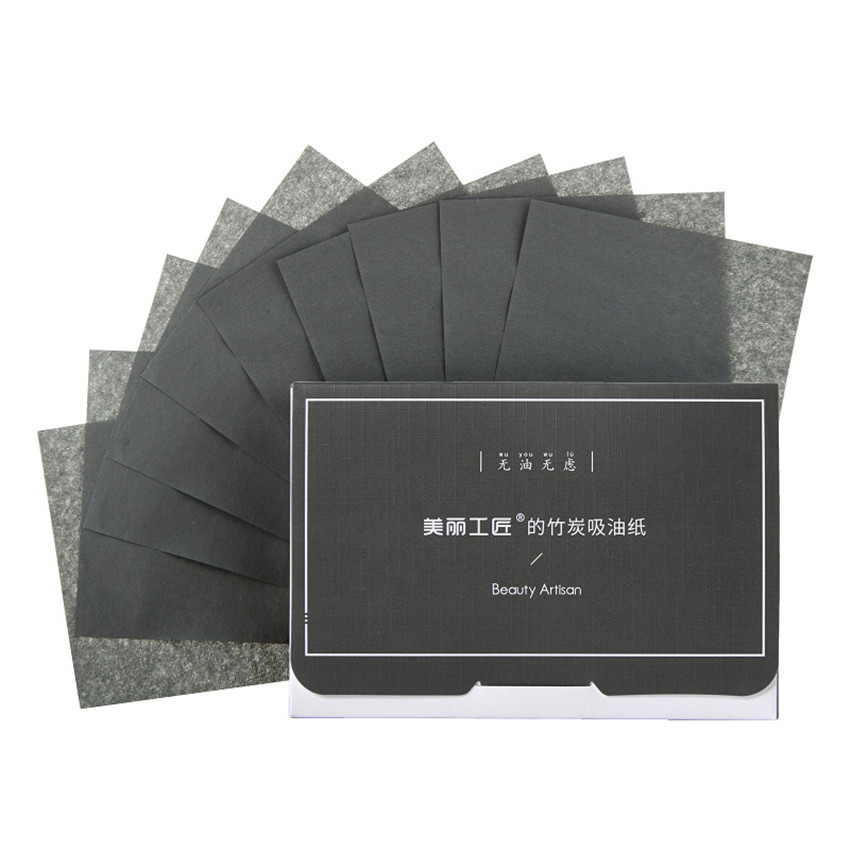 100 Sheets/Pack Oil-absorbing Paper Facial Linen Green Tea Bamboo Charcoal Film Clean Blotting  Paper Face Tool
