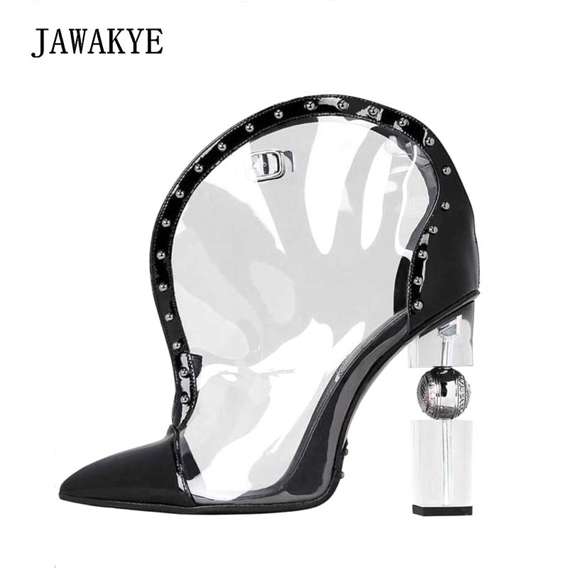Eté PVC chaussures transparentes pointues bottines pour femmes mi-mollet fermeture éclair ronde clair talons hauts chaussures bottines femmes