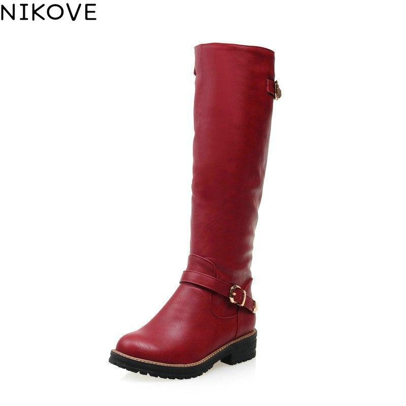 Nikove 2017 универсальные среднем каблуке черный серый Женская обувь красного цвета зимняя обувь круглый носок Модные женские туфли Сапоги до колена PU кожаные сапоги