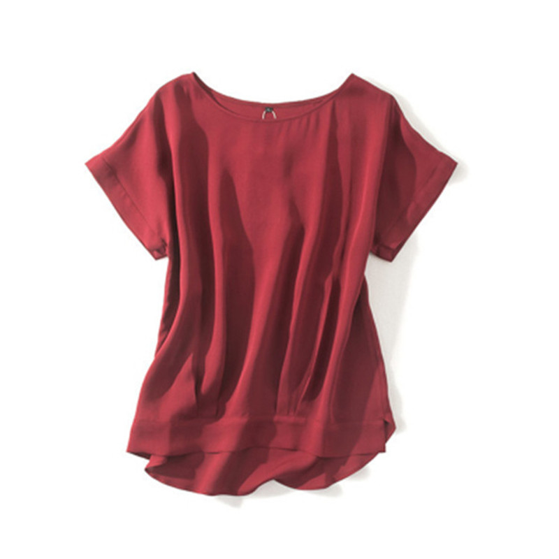 100% soie femmes mode t-shirt lâche irrégulière ourlet bas col rond manches courtes blanc 4 couleur M/2XL détail mix vrac négociable