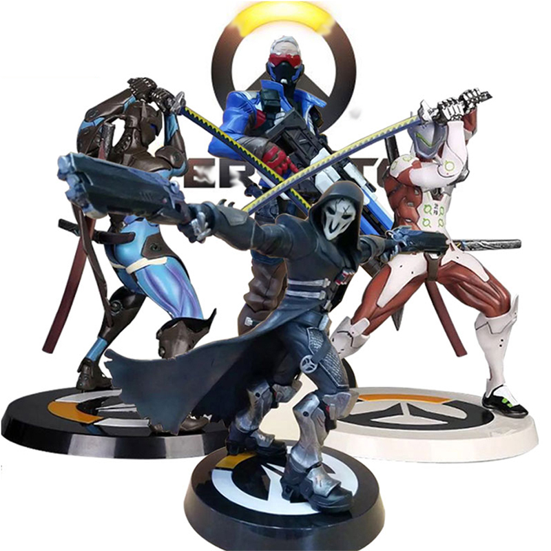 SAINTGI OW Tracer Widowmaker Reaper WINSTON SOLDIER:76 Action Figure Model kids Toys Gifts Collection Tracer PVC 25CM game Genji фигурка planet of the apes action figure classic gorilla soldier 2 pack 18 см