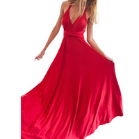 Party Multiway Bridesmaids Convertible Infinity Robe Longue Femme 2018 Sexy Women Boho Maxi Club Dress Red