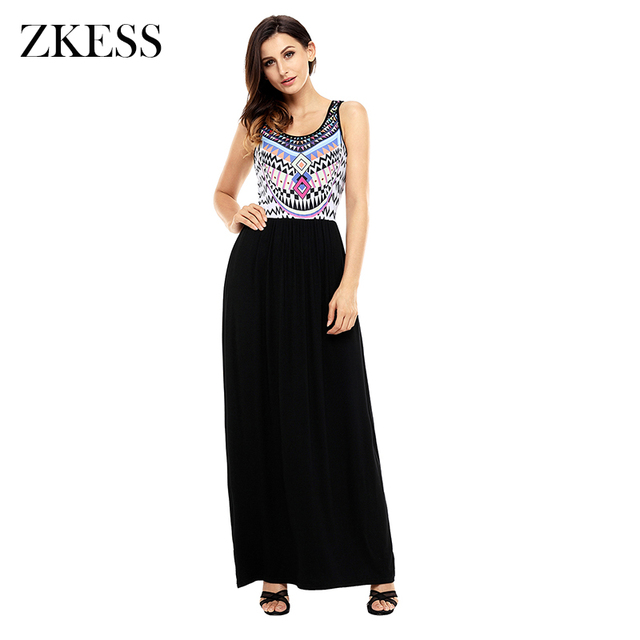 ZKESS Women Patchwork Tribal Print Boho Dress Fashion Sleeveless ...