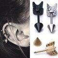 1pcs Gold Silver Surgical Stainless Steel Stud Earring Arrow Shape Ear Tragus Piercing Fake Taper For Men Women body jewelry