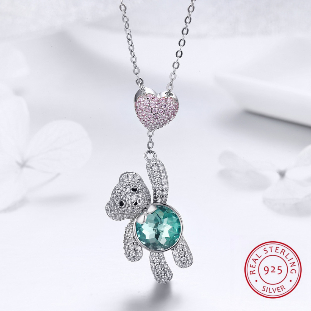 100% Genuine 925 Sterling Silver Loverly Bear with Heart Pendant Necklace Paved full Cubic Zirconia Girls Female Fine Jewelry