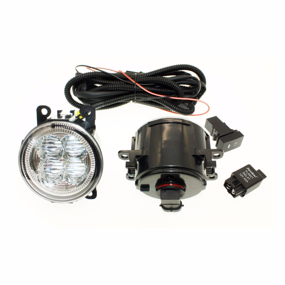 For LAND ROVER FREELANDER H11 Wiring Harness Sockets Wire Connector Switch + 2 Fog Lights DRL Front Bumper 5D Lens LED Lamp for holden commodore saloon vz h11 wiring harness sockets wire connector switch 2 fog lights drl front bumper led lamp