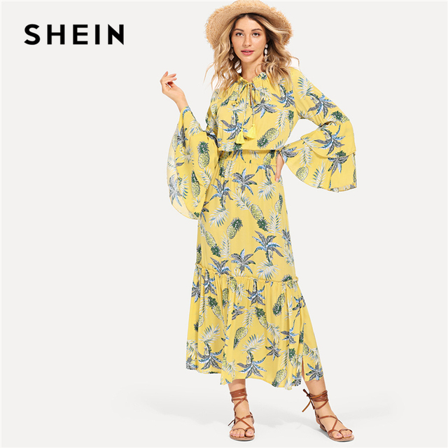 4a6f72f6a2cc SHEIN Multicolor Vacation Boho Bohemian Beach Tassel Tie Neck Layered Bell  Sleeve Tropical Dress Summer Women