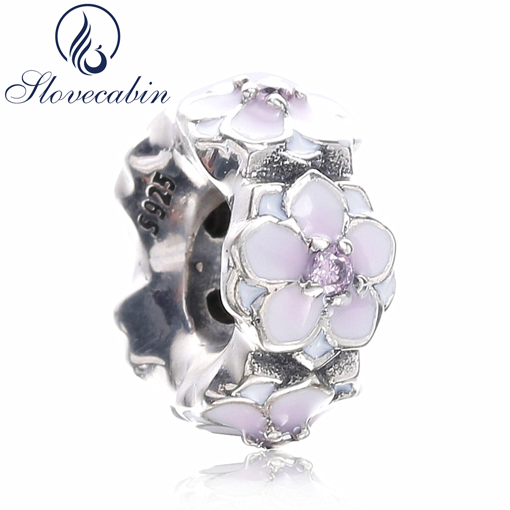 Slovecabin 2017 Spring 925 Sterling Silver Magnolia Bloom Spacer Beads For Women Sterling-Silver-Jewelry Fit Pandora Bracelet