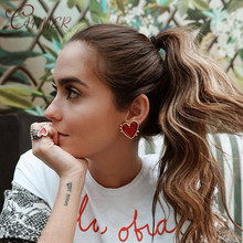 CANNER 2019 New Fashion Big Statement Earring Punk Exaggerated Dripping Oil Heart Stud Earrings for Women Girls Party Jewelry