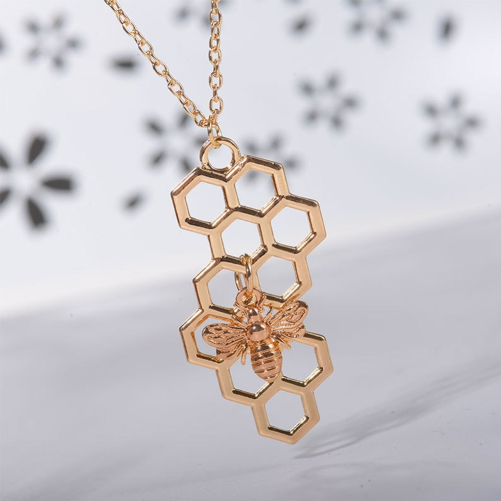 Nature Jewelry Geometric Hexagon Honeycomb Necklace with Bee Charm