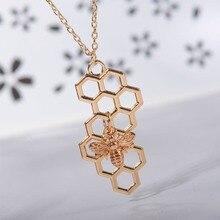 Бижутерия из природных материалов геометрический шестиугольный сотовый ожерелье с Пчелой Шарм