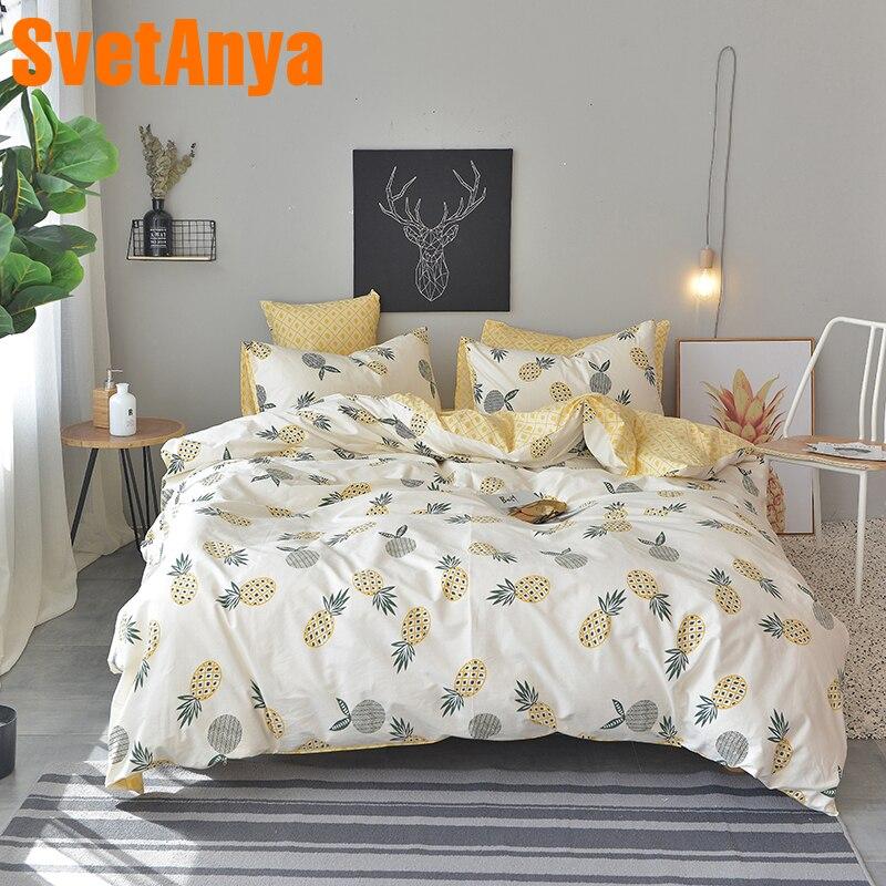 Svetanya Pineapple Bedsheet Pillowcase Duvet Cover Sets 100% Cotton Bedlinen Twin Double Queen King Size Bedding Set