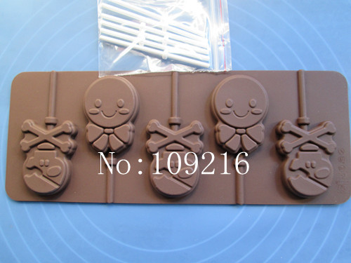 1pcs 6-Smiling The Pirates Lollipop 100% Food Grade Silicone ChocolateJellyPuddingIceCandy DIY Mold